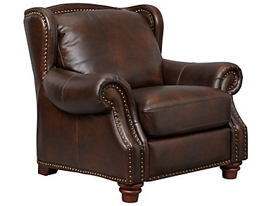 Leather Upholstered Winston Chair, Brown, , large