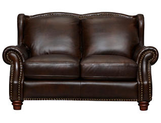 Leather Upholstered Winston Loveseat, Brown, , large