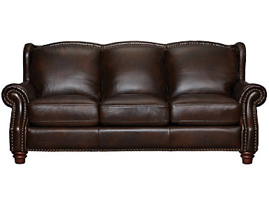 Leather Upholstered Winston Sofa, Brown, , large