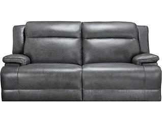 Tito Leather Dual Power Sofa, Grey, , large