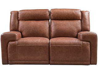 Sanibel Leather Dual Power Loveseat, Brown, , large