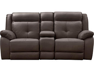 Torino Power Console Loveseat, Chocolate, large