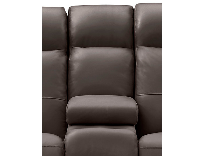 Torino Leather Power Console Loveseat, Brown, Chocolate, large