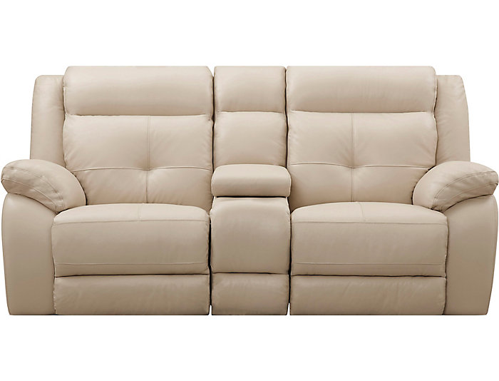 Torino Leather Power Console Loveseat, Taupe, Taupe, large