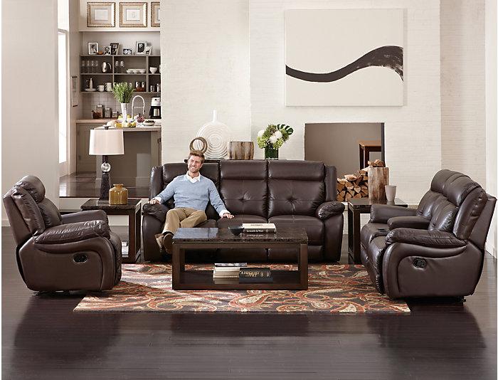 Torino Brown Reclining Leather Sofa Chocolate Large