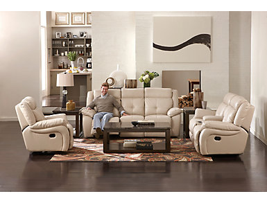 Torino Power Reclining Leather Sofa, Taupe, large