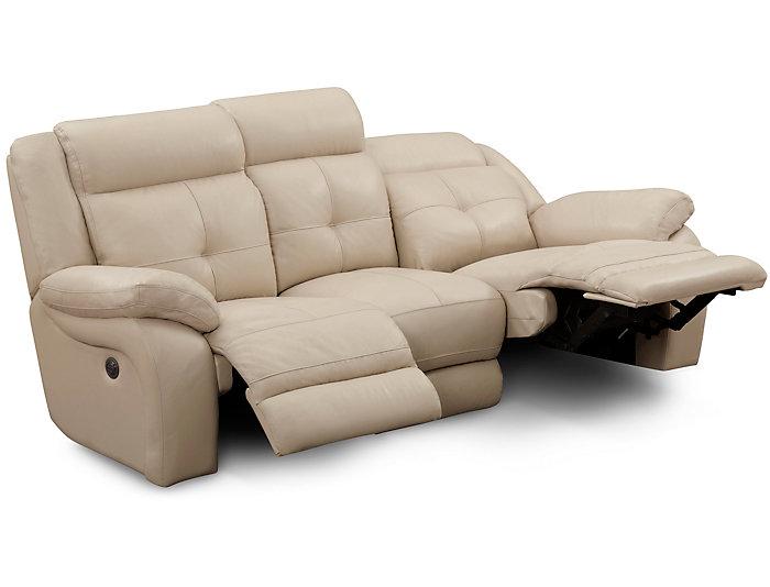 Torino Taupe Reclining Leather Sofa Large