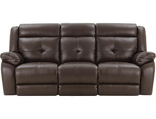 Torino Leather Reclining Sofa, Brown, , large
