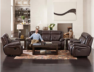Torino Leather Reclining Sofa, Chocolate, large
