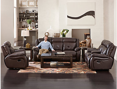 Torino Leather Reclining Sofa, Chocolate, large