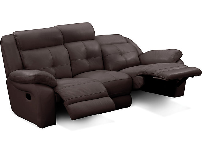 Torino Leather Reclining Sofa Brown Chocolate Large