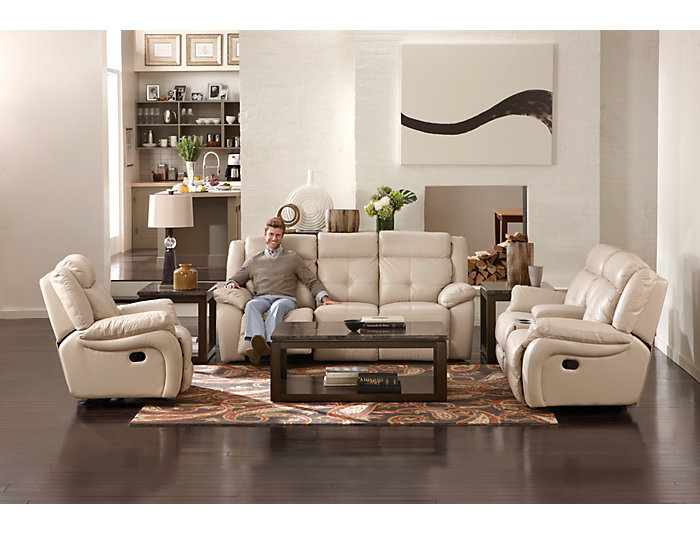 Torino Leather Reclining Sofa Taupe