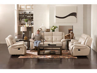 Torino Leather Reclining Sofa, Taupe, large