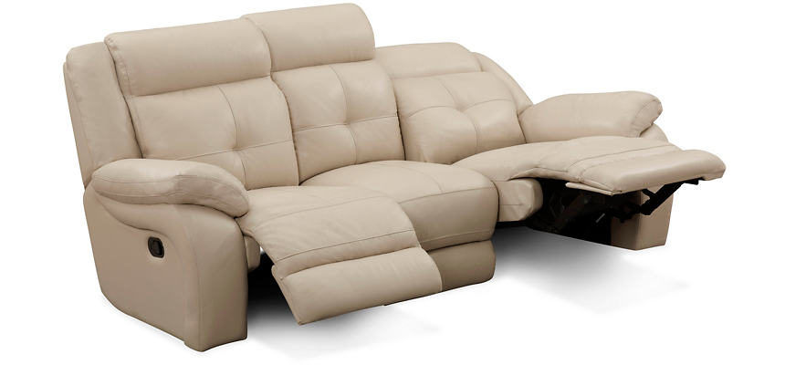 Torino Reclining Leather Sofa Taupe