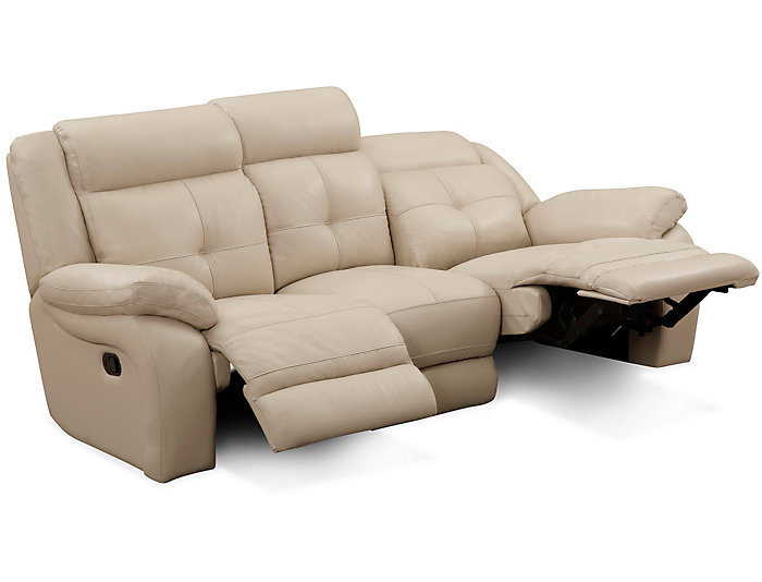 Torino Leather Reclining Sofa, Taupe, , Large ...