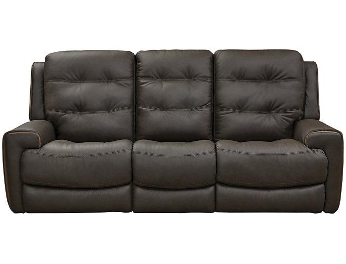 Wicklow Dual Power Reclining Leather Sofa Brown Art Van