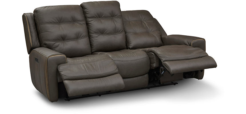Wicklow Chocolate Dual Power Reclining Leather Sofa