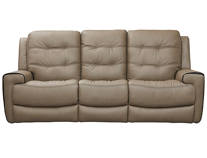 Wicklow Dual Power Reclining Leather Sofa, Taupe | Art Van Home