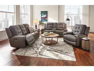 Wicklow Chocolate Dual Power Leather Console Loveseat, Chocolate, large
