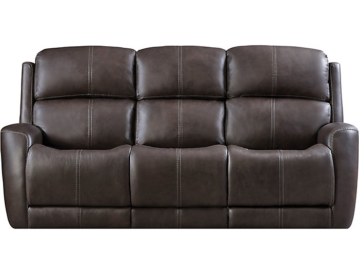 Zelda Grey Dual Power Reclining Leather Sofa