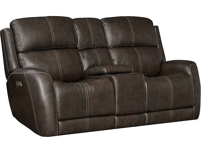 Dual Power Console Loveseat, Grey, , large