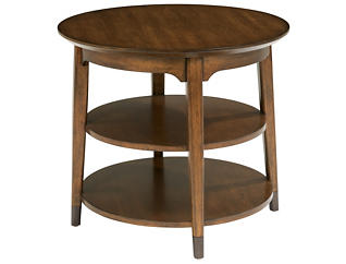 Gemini Round End Table, Brown, , large