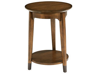 Gemini Round Chairside Table, Brown, , large