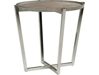 Platform Oval End Table, Pine, , large