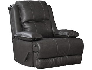 Art Van Signature II Leather Rocker Recliner, Grey, , large
