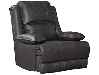 Art Van Signature II Dual Power Leather Rocker Recliner, Grey, , large