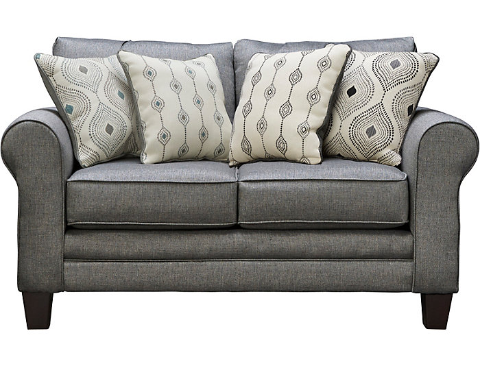 Capri Loveseat, Charcoal, Charcoal, large