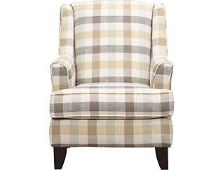 Palmer Plaid Wing Accent Chair, , large