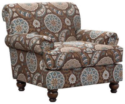 Anna Accent Chair, Brown/Teal, swatch