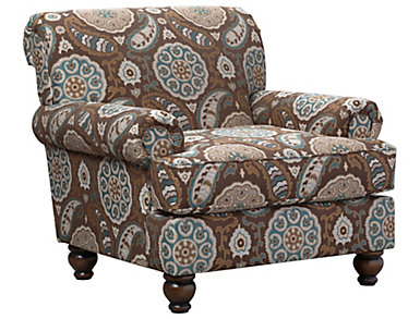 Anna Accent Chair, Brown/Teal, Brown/Teal, large