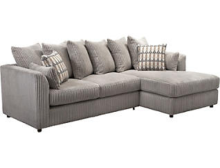 Dove 2 Piece Right-Arm Facing Chaise Sectional, , large