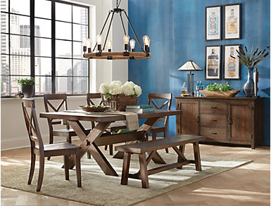 Claremont Dining Bench, Brown, large