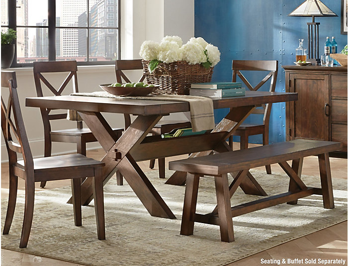 Claremont Distressed Oak Trestle Dining Table