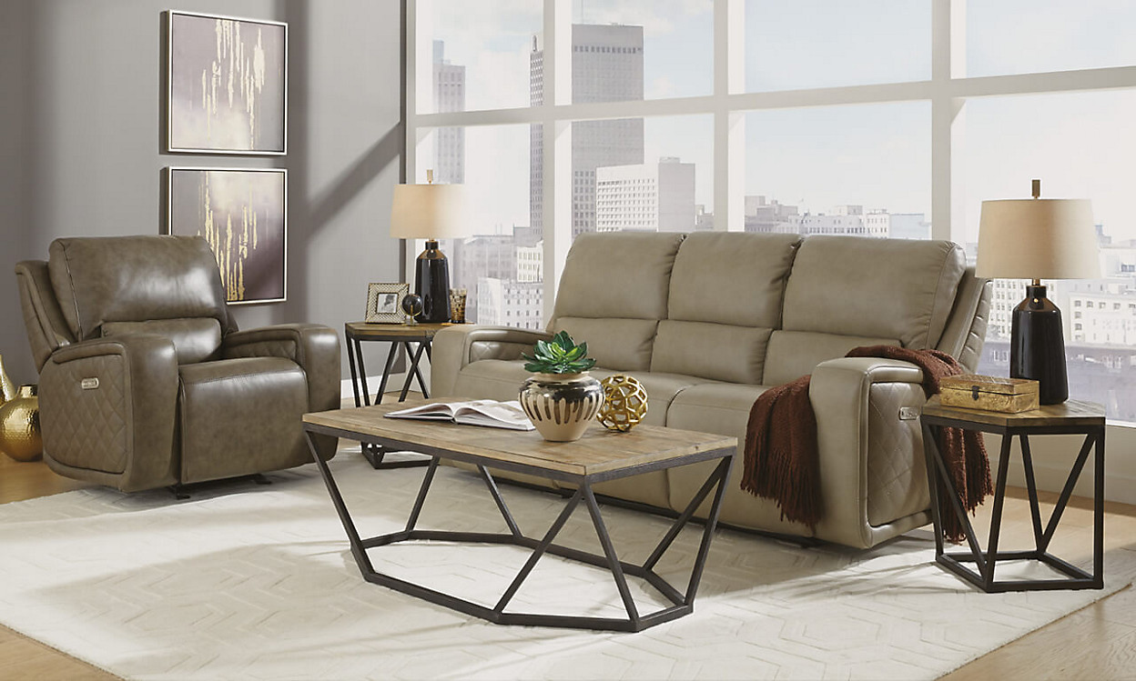 Flexsteel Sofa with cofee table in a city apartment