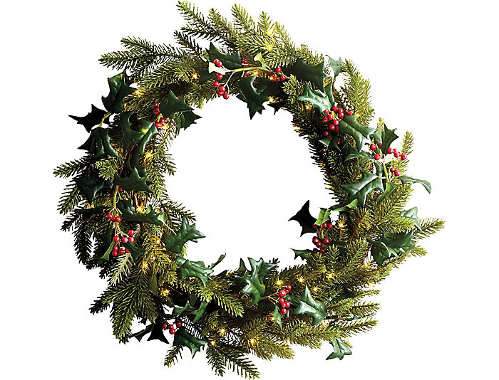 "24.8"" Lghted Pine Holly Wreath, , large"