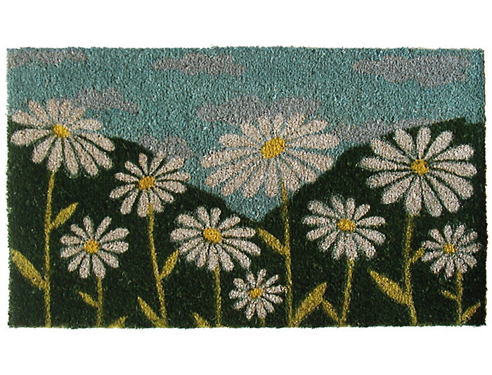 White Daisies 18x30 Doormat, , large