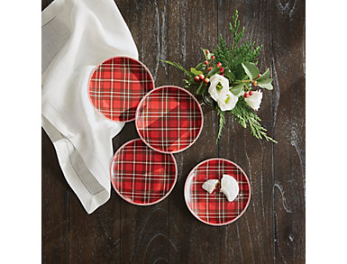 Set of 4 Holiday Plaid Stoneware Plates, , large