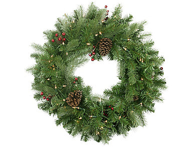 """24"""" Pre-Lit Noble Fir with Red Berries and Pine Cones        Artificial Wreath with Clear Lights, , large"""