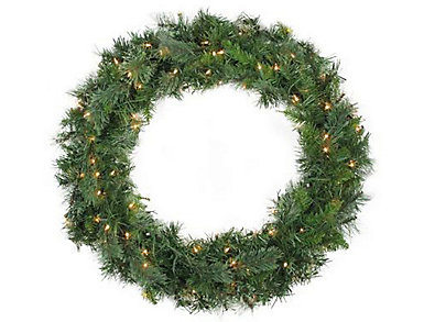 """48"""" Pre-Lit Mixed Cashmere Pine Artificial Wreath with       Clear Lights, , large"""