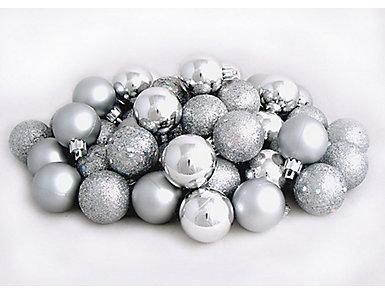 "Silver Shatterproof 4-Finish 2.5"" Bulb Ornament - Set of 60, , large"