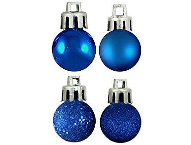 "Blue Shatterproof 4-Finish 1.25"" Bulb Ornaments - Set of 18, , large"