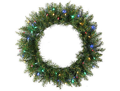 """24"""" Pre-Lit Northern Pine Artificial Wreath with Multi-Color LED Lights, , large"""