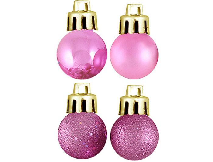 "Bubblegum Pink Shatterproof 4-Finish 1.25"" Bulb Ornaments -  Set of 18, , large"