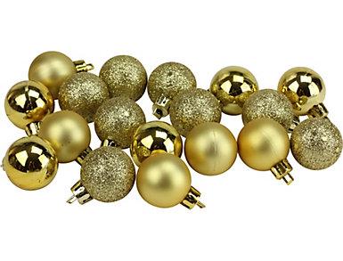"Gold Shatterproof 4-Finish 1.25"" Bulb Ornaments -            Set of 18, , large"