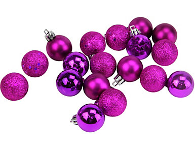 "Eggplant Purple Shatterproof 4-Finish 1.25"" Bulb             Ornaments - Set of 18, , large"