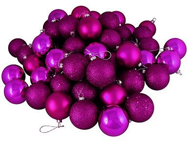 "Magenta Shatterproof 4 Finish 2.5"" Bulb Ornaments -          Set of 24, , large"